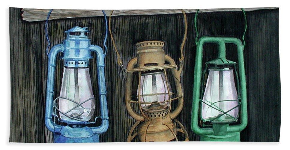 Lanterns Bath Towel featuring the painting Lanterns by Ferrel Cordle