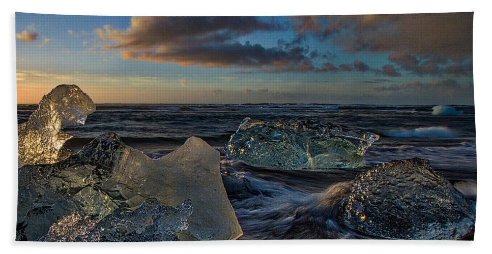 Beach Hand Towel featuring the photograph Large Icebergs At Dawn #4 - Iceland by Stuart Litoff