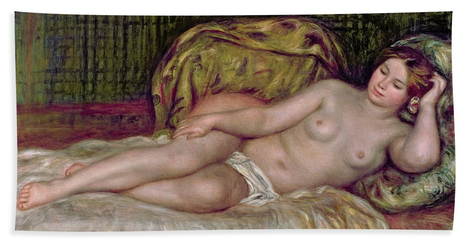 Large Nude Bath Sheet featuring the painting Large Nude by Pierre Auguste Renoir