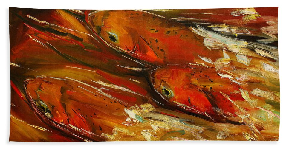 Trout Bath Towel featuring the painting Large Trout Stream Fly Fish by Diane Whitehead
