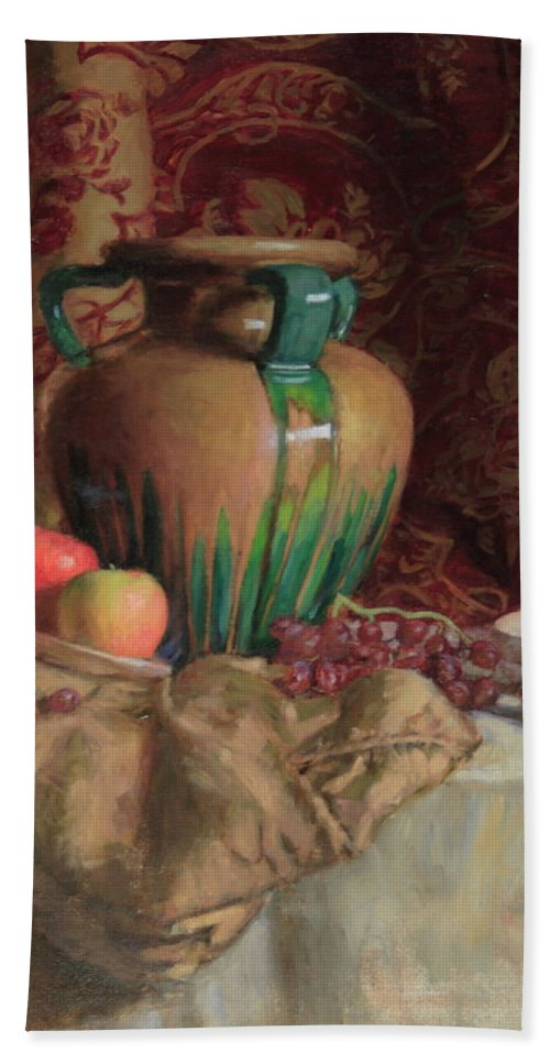 Vase Bath Sheet featuring the painting Large Vase With Apples by Walter Lynn Mosley