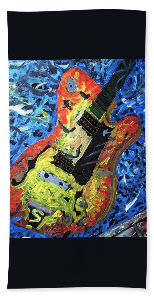 Larry Carlton Hand Towel featuring the painting Larry Carlton Guitar by Neal Barbosa