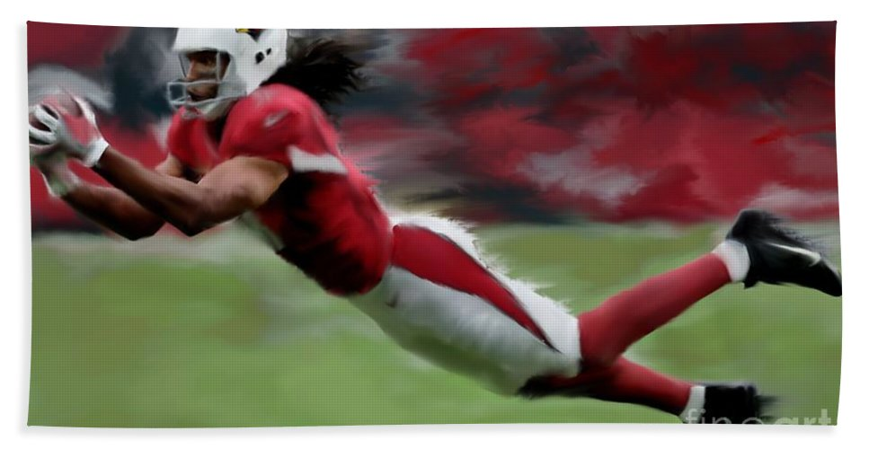 Nfl Bath Towel featuring the painting Larry Fitzgerald by Jack Bunds