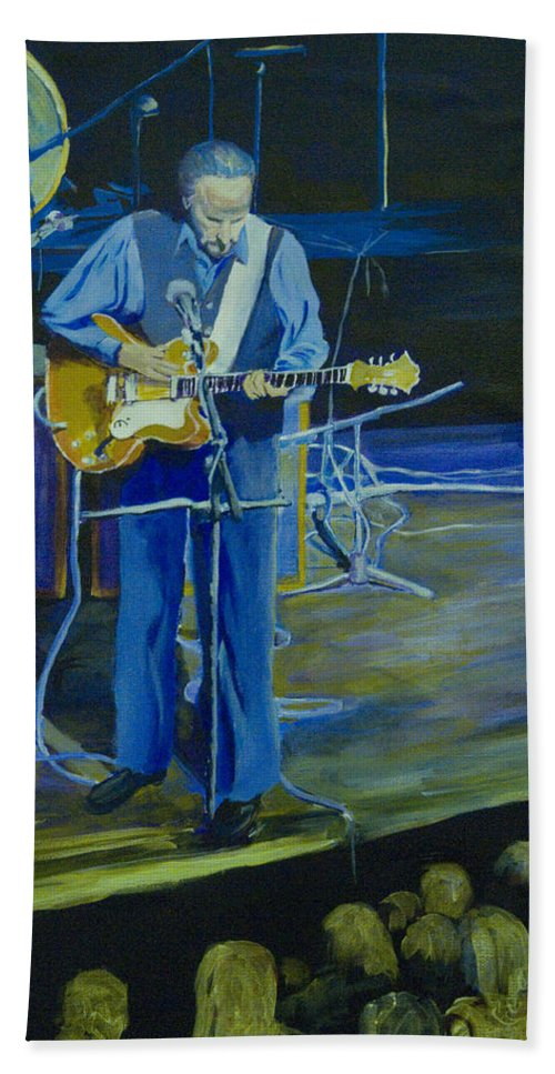 Portrait Hand Towel featuring the painting Larry Parypa From The Sonics by Davina Parypa