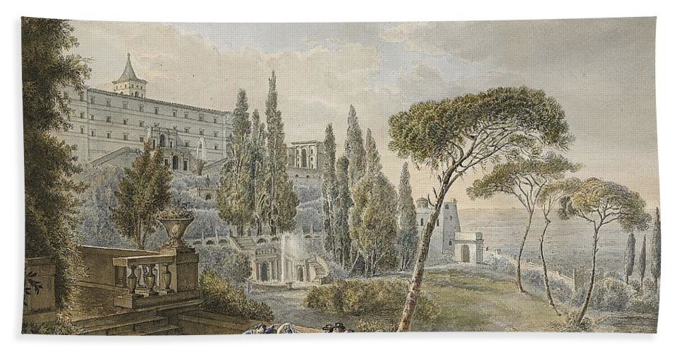 Lars Jacob Von Rook (1778-1867 By Tivoli With Villa D'este In The Fund Bath Sheet featuring the painting Lars Jacob by MotionAge Designs