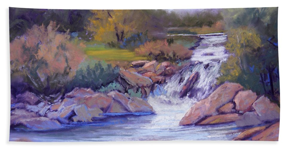 Pastel Hand Towel featuring the painting Larsen Falls by Heather Coen