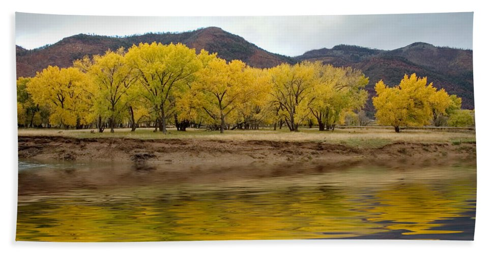 River Bath Sheet featuring the photograph Las Animas Fall by Jerry McElroy