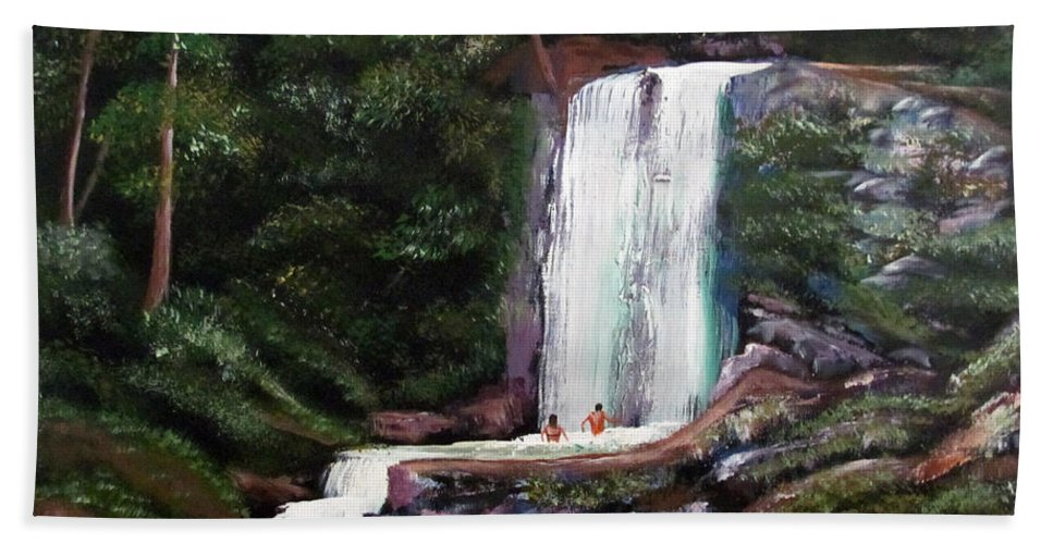 Puerto Rico Bath Towel featuring the painting Las Marias Puerto Rico Waterfall by Luis F Rodriguez