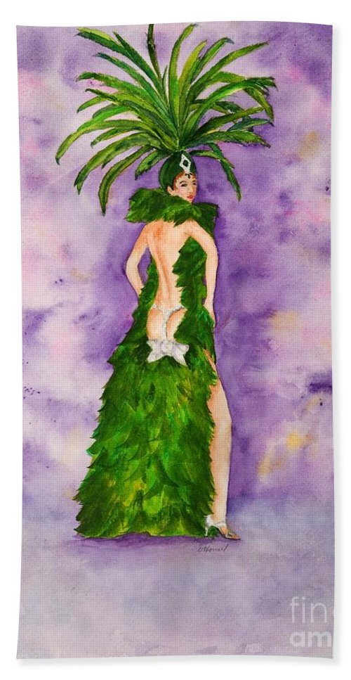 Home Hand Towel featuring the painting Las Vegas Show Girl by Vicki Housel