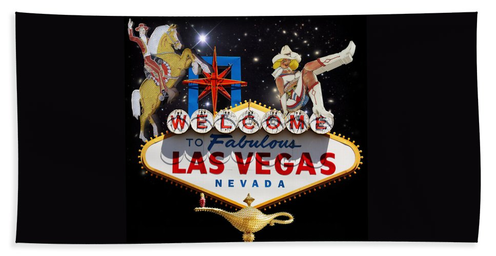 Las Vegas Bath Sheet featuring the mixed media Las Vegas Symbolic Sign by Gravityx9 Designs