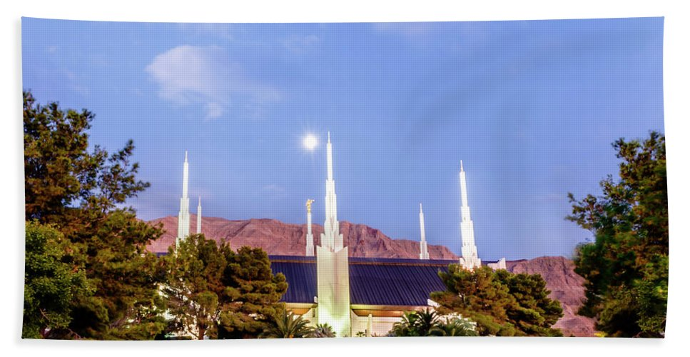 Las Vegas Temple Bath Sheet featuring the photograph Las Vegas Temple Moon by La Rae Roberts