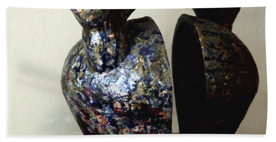 Ceramic Bath Sheet featuring the sculpture Las Venas Abiertas De America Latina by Madalena Lobao-Tello