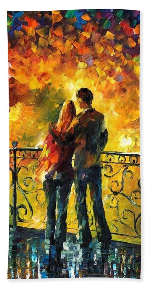 Afremov Bath Sheet featuring the painting Last Date by Leonid Afremov