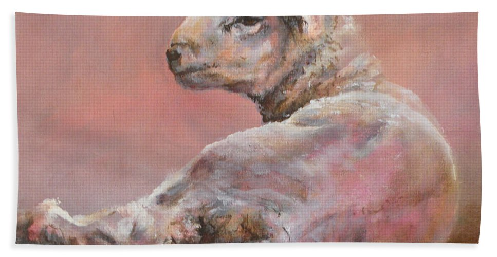 Sheep Bath Sheet featuring the painting Last Light by Mia DeLode