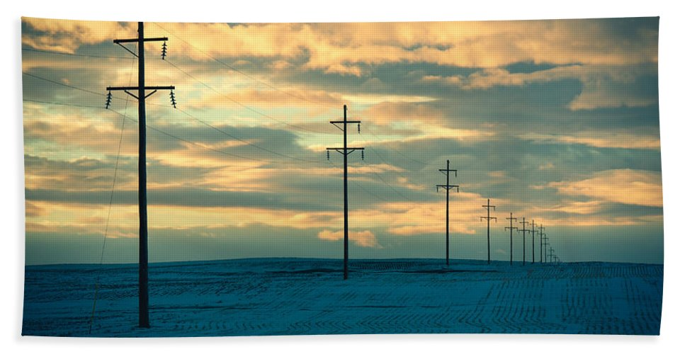 Electricity Hand Towel featuring the photograph Last Light by Todd Klassy