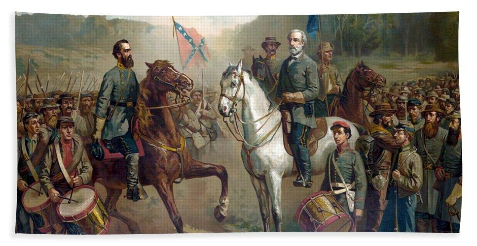 Robert E Lee Hand Towel featuring the painting Last Meeting Of Lee And Jackson by War Is Hell Store