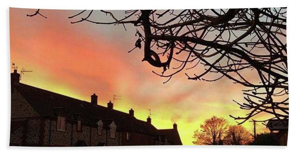 Natureonly Bath Towel featuring the photograph Last Night's Sunset From Our Cottage by John Edwards