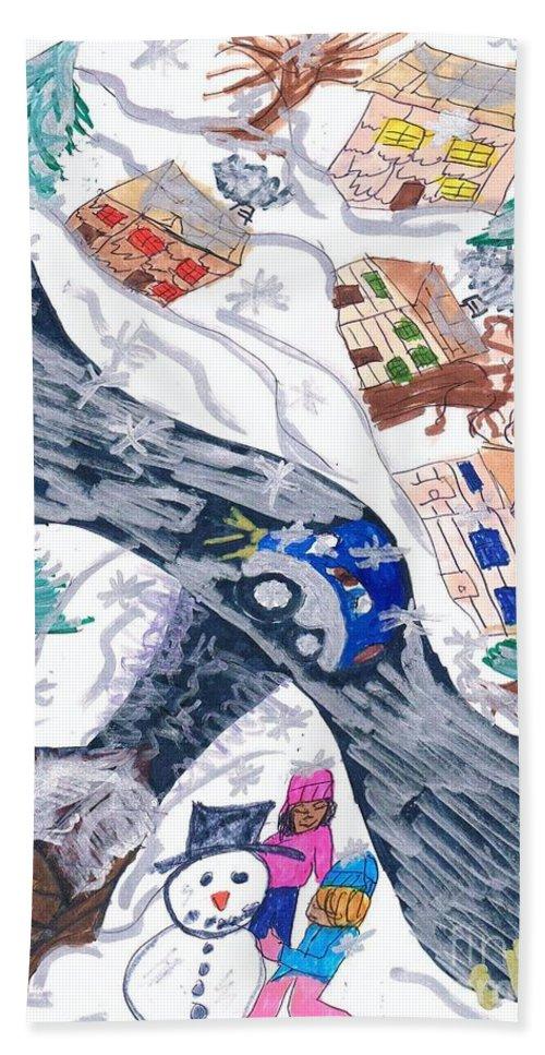 A Snow Village Hand Towel featuring the mixed media Last Snowman Of The Season by Elinor Helen Rakowski