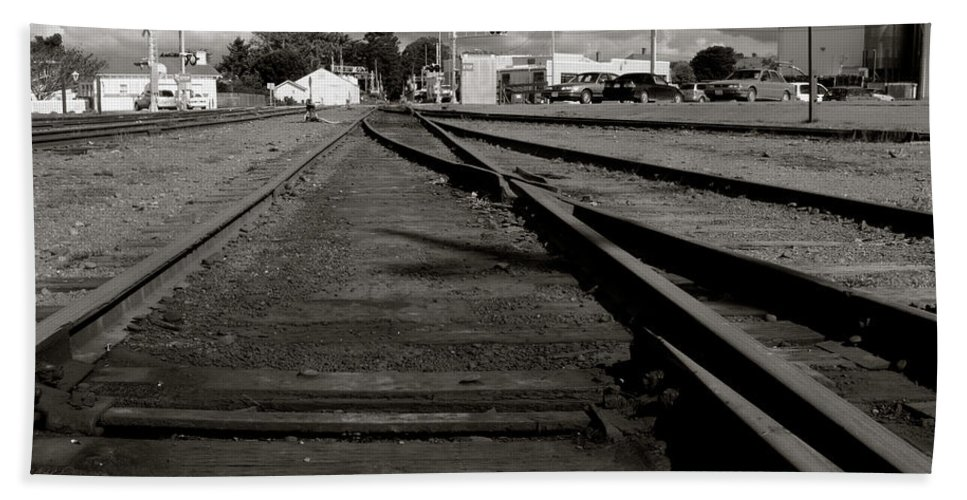 Fort Bragg Bath Sheet featuring the photograph Last Train Track Out by Lorraine Devon Wilke