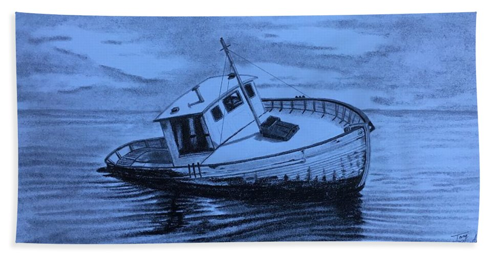 Boat Hand Towel featuring the drawing Last Voyage by Tony Clark