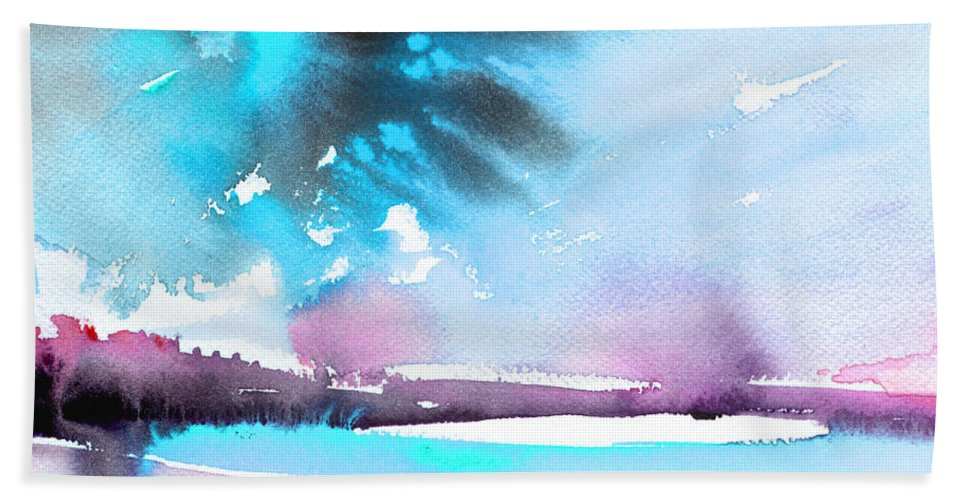 Watercolour Landscape Bath Sheet featuring the painting Late Afternoon 16 by Miki De Goodaboom