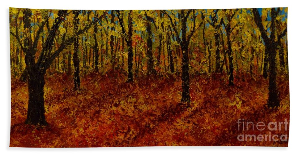 Hand Towel featuring the painting Not Yet Winter by Barrie Stark