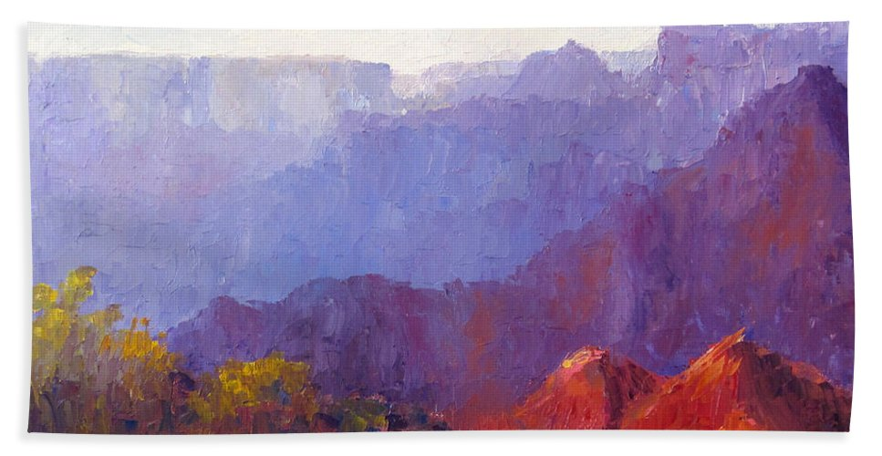 Grand Canyon Hand Towel featuring the painting Late Afternoon Light by Terry Chacon
