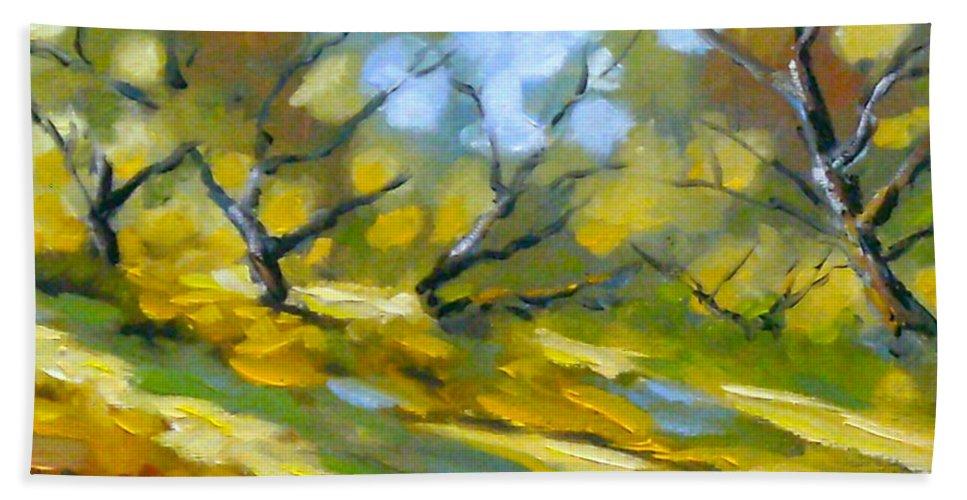 Original Painting; Oil; Landscape; Birches; Trees; Nature; Richard T Pranke; Lake Bath Sheet featuring the painting Late Afternoon by Richard T Pranke