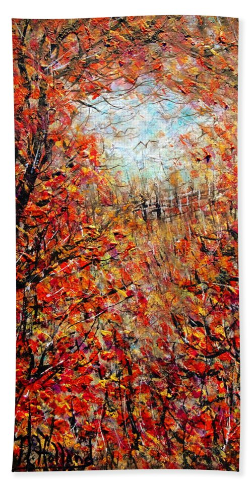 Autumn Bath Sheet featuring the painting Late Autumn by Natalie Holland