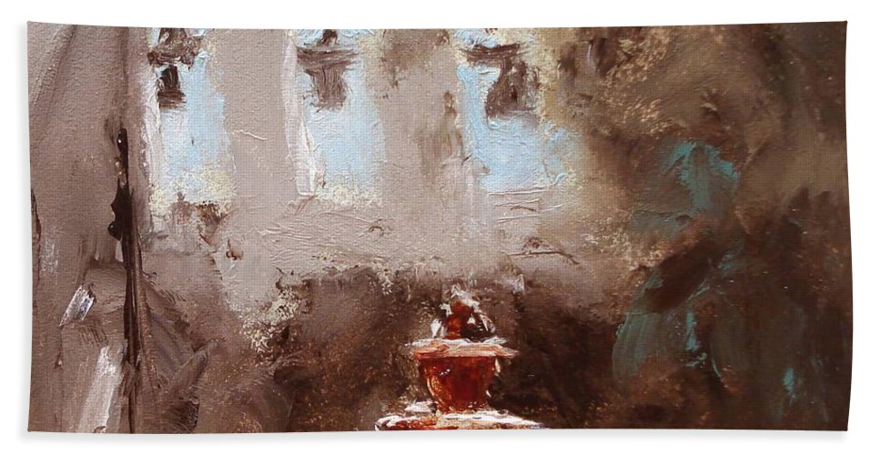 Water Hand Towel featuring the painting Late Light by Barbara Andolsek