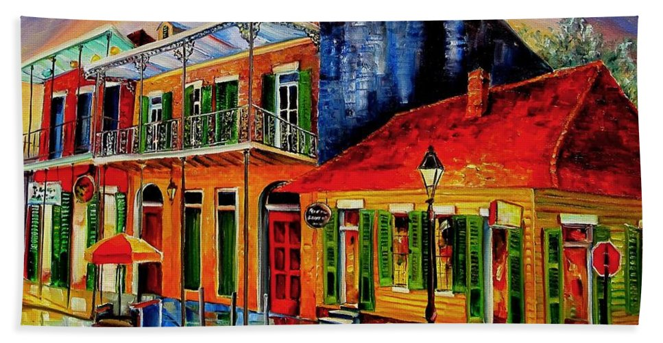 New Orleans Hand Towel featuring the painting Late On Bourbon Street by Diane Millsap
