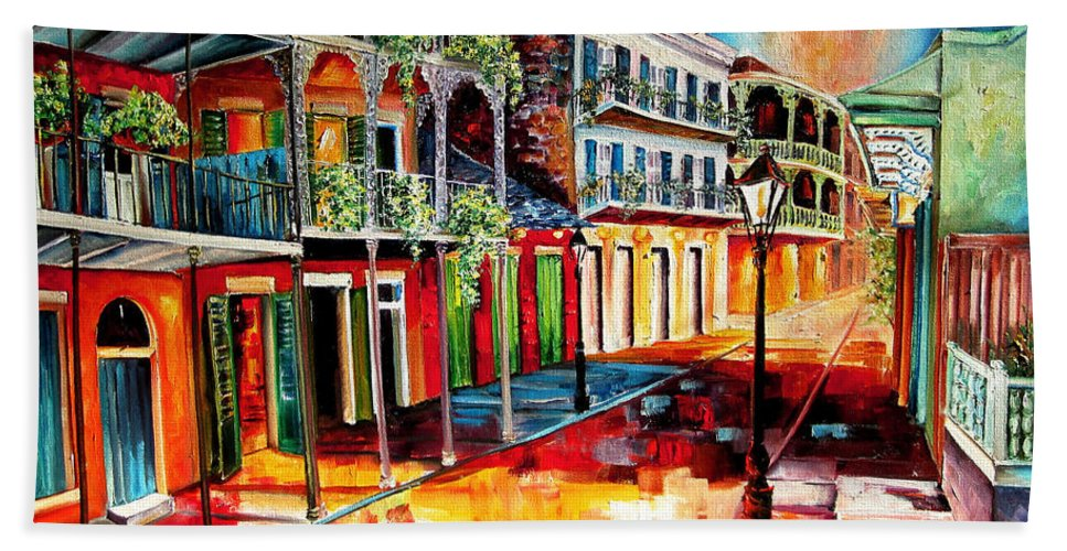 New Orleans Bath Sheet featuring the painting Late On Royal Street by Diane Millsap