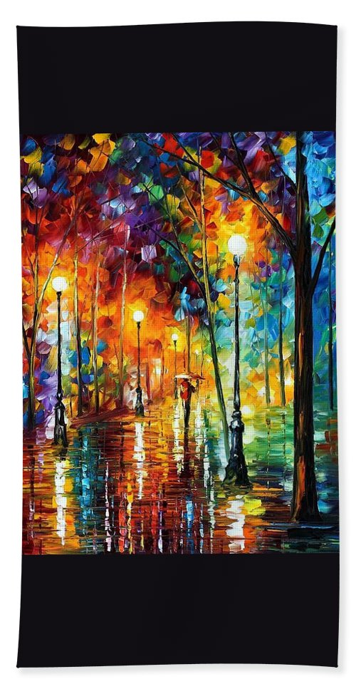 Afremov Hand Towel featuring the painting Late Stroll by Leonid Afremov