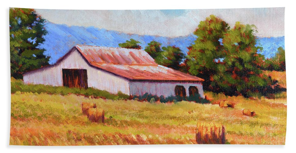 Impressionism Bath Sheet featuring the painting Late Summer Hay by Keith Burgess
