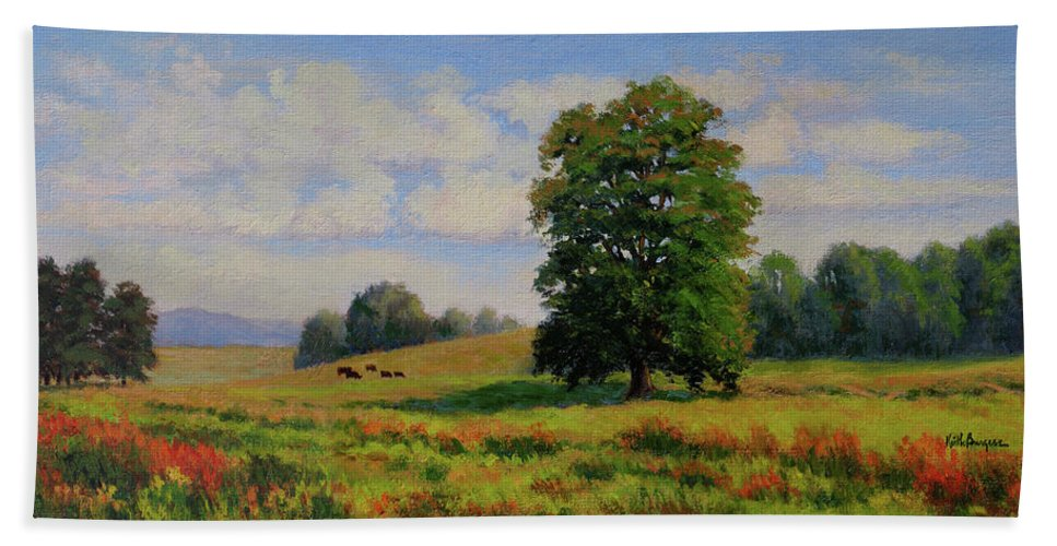 Impressionism Bath Sheet featuring the painting Late Summer Pastoral by Keith Burgess
