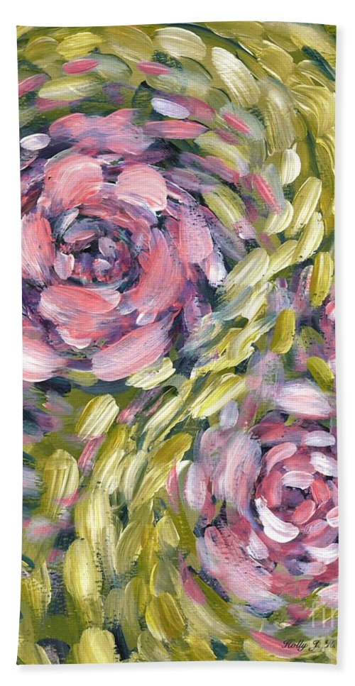 Roses Hand Towel featuring the digital art Late Summer Whirl by Holly Carmichael