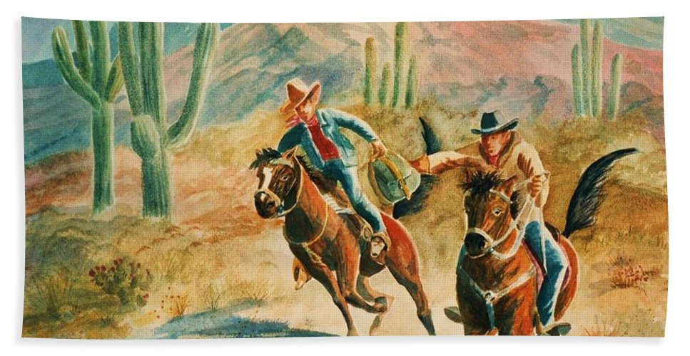 Pony Express Bath Sheet featuring the painting Lateral Pass by Marilyn Smith
