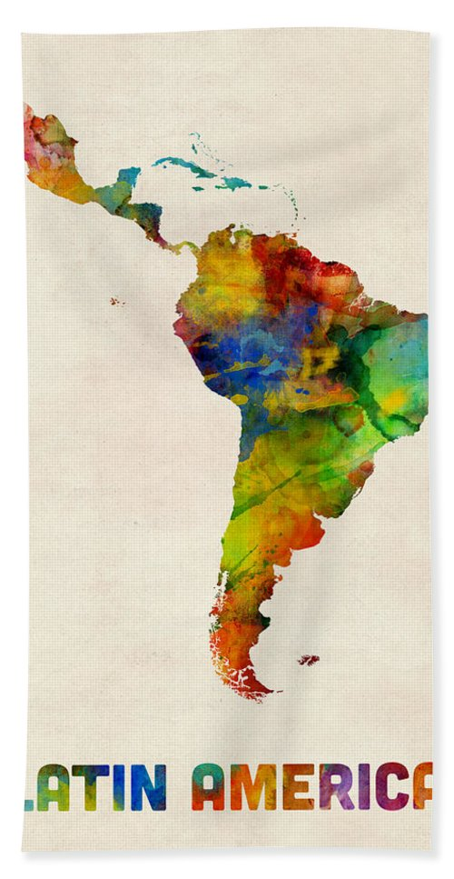South America Map Hand Towel featuring the digital art Latin America Watercolor Map by Michael Tompsett