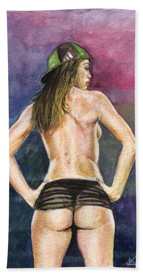 Model Bath Sheet featuring the painting Latina Gangsta Girl 2 by Alban Dizdari