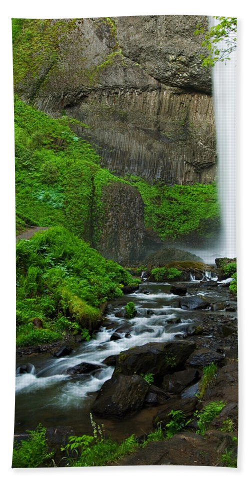 Waterfall Bath Sheet featuring the photograph Latourell Falls Oregon by Renee Hong