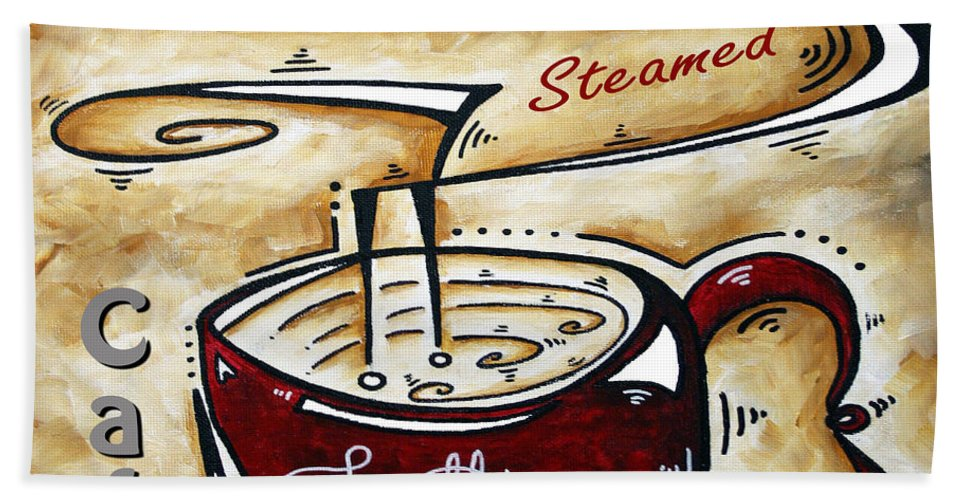 Original Bath Sheet featuring the painting Latte Original Painting Madart by Megan Duncanson