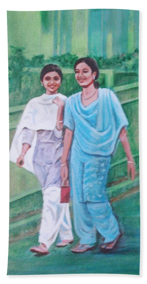 Bath Towel featuring the painting Laughing Girls by Usha Shantharam