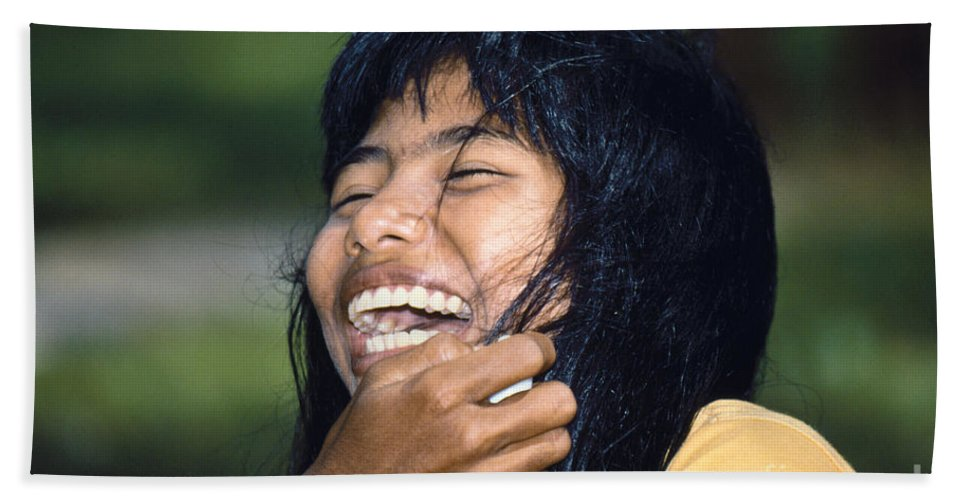Girl Hand Towel featuring the photograph Laughing Out Loud by Heiko Koehrer-Wagner