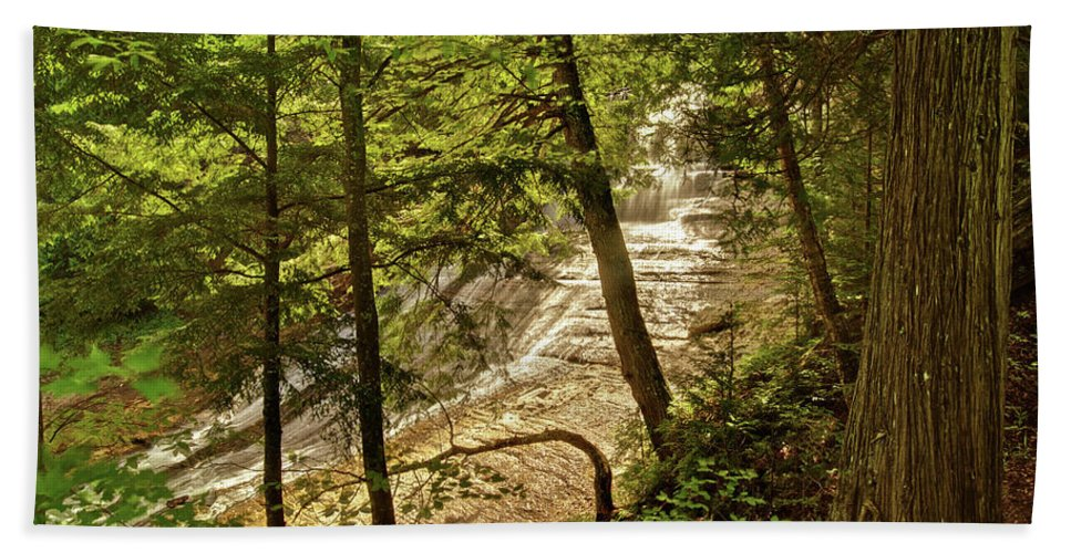 Laughing Whitefish Bath Towel featuring the photograph Laughing Whitefish Falls 2 by Michael Peychich
