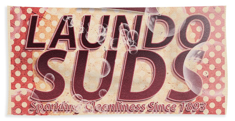 Tin Sign Bath Towel featuring the digital art Laundo Soap Suds Advertising by Jorgo Photography - Wall Art Gallery