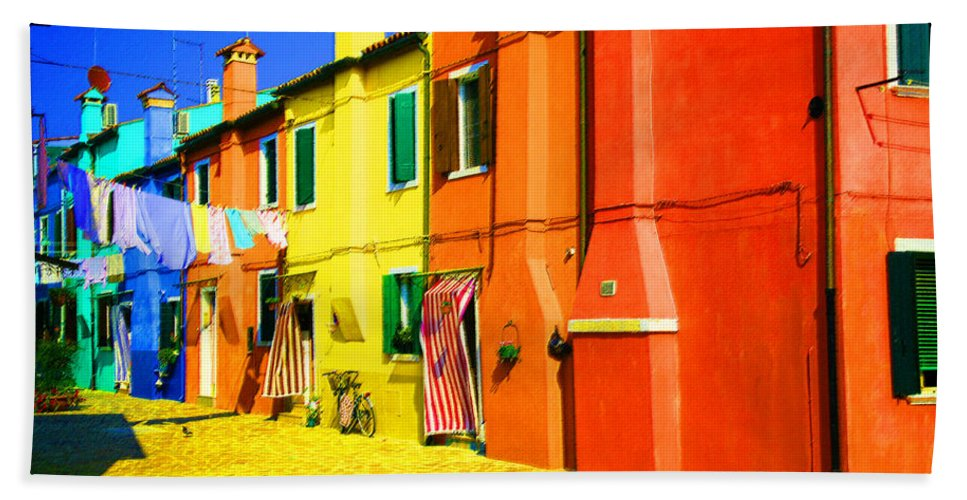 Burano Bath Towel featuring the photograph Laundry Between Chimneys by Donna Corless