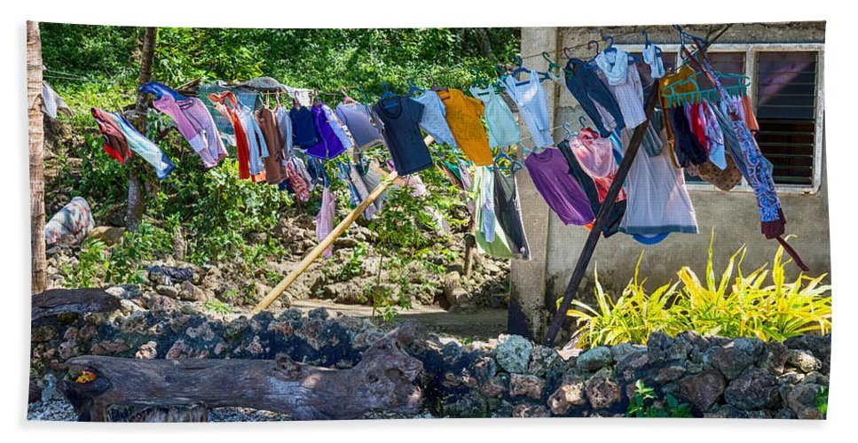 Laundry Hand Towel featuring the photograph Laundry Drying In The Wind by James BO Insogna