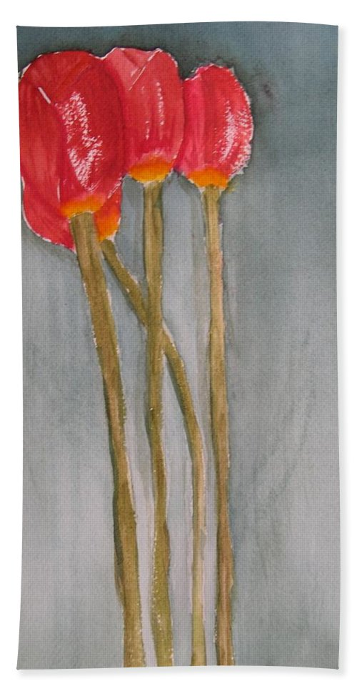 Tulip Flower Bouquet Bath Towel featuring the painting Laura by Patricia Caldwell