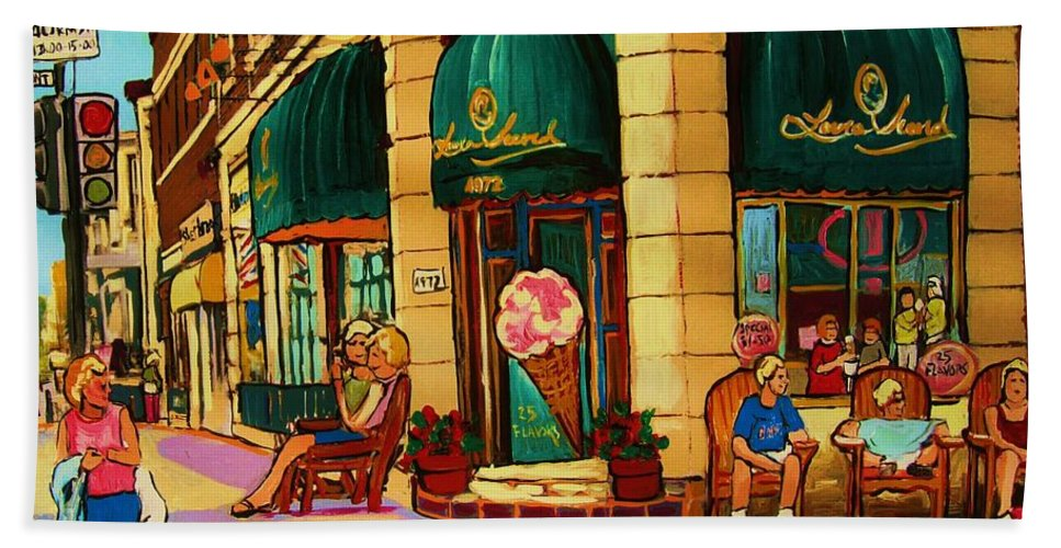 Montreal Streetscenes Bath Sheet featuring the painting Laura Secord Candy And Cone Shop by Carole Spandau