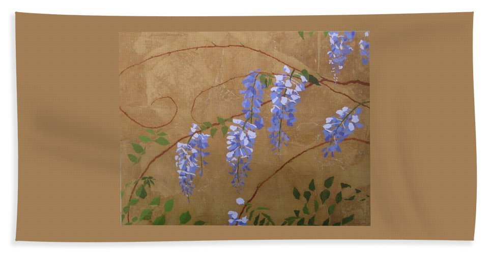 Floral Hand Towel featuring the painting Laurels Wisteria by Leah Tomaino